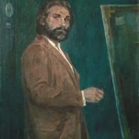 Автопортрет у мольберта. 1987. К., м.