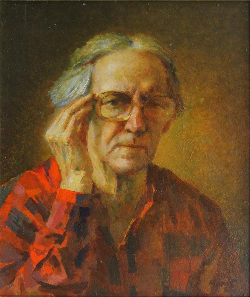 Автопортрет. 1996г. ДВП, левкас, масло. 50х41