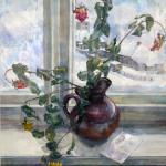 Розы в разбитом кувшине. 1992. Бумага, акварель, гуашь. 60х52