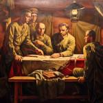 Павликов О.В. В блиндаже. 1995. Холст, масло. 157х262_измен.размер