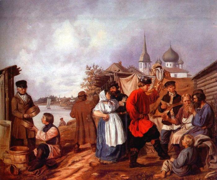 10.Андр.Попов. Народная сцена на ярмарке  в Старой Ладоге.1853