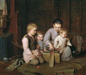12.Кошелев Н.Дети, катающие пасхальные яйца. 1855