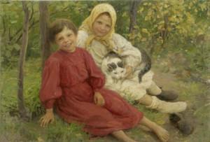 Сычков. Девочки с кошкой. 1906. Владимир